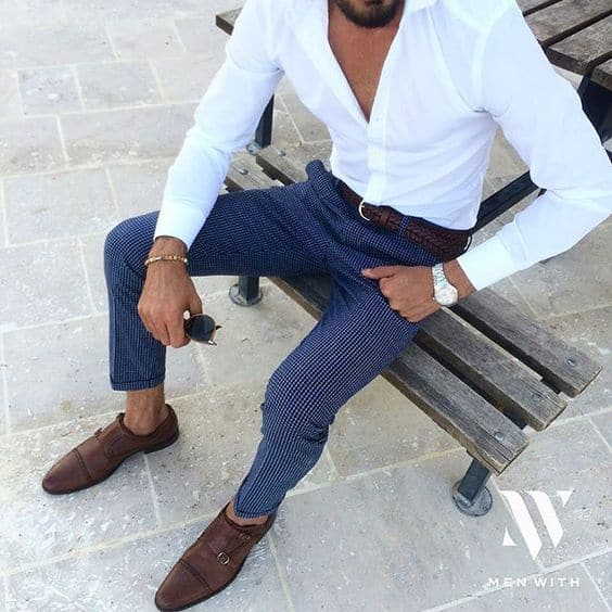 Blue Dress Pants And Brown Shoes Polo Shirt