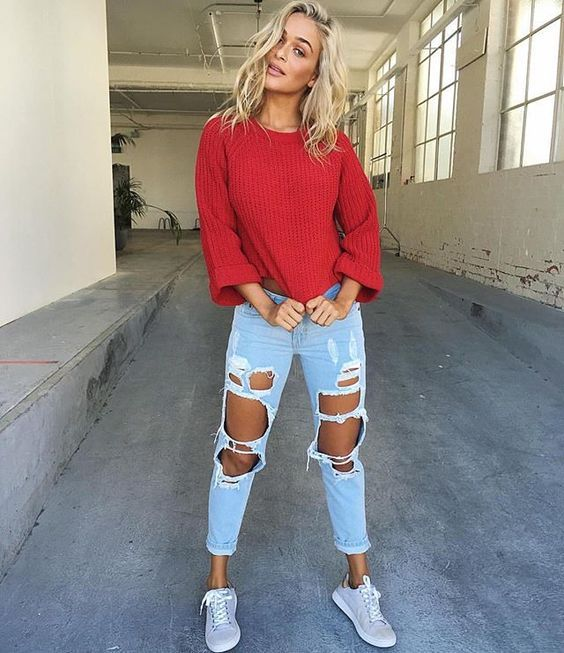 Ripped boyfriend jeans tumblr