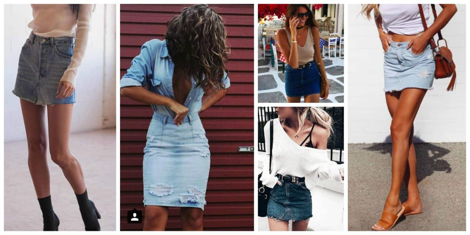 With what to wear a denim skirt