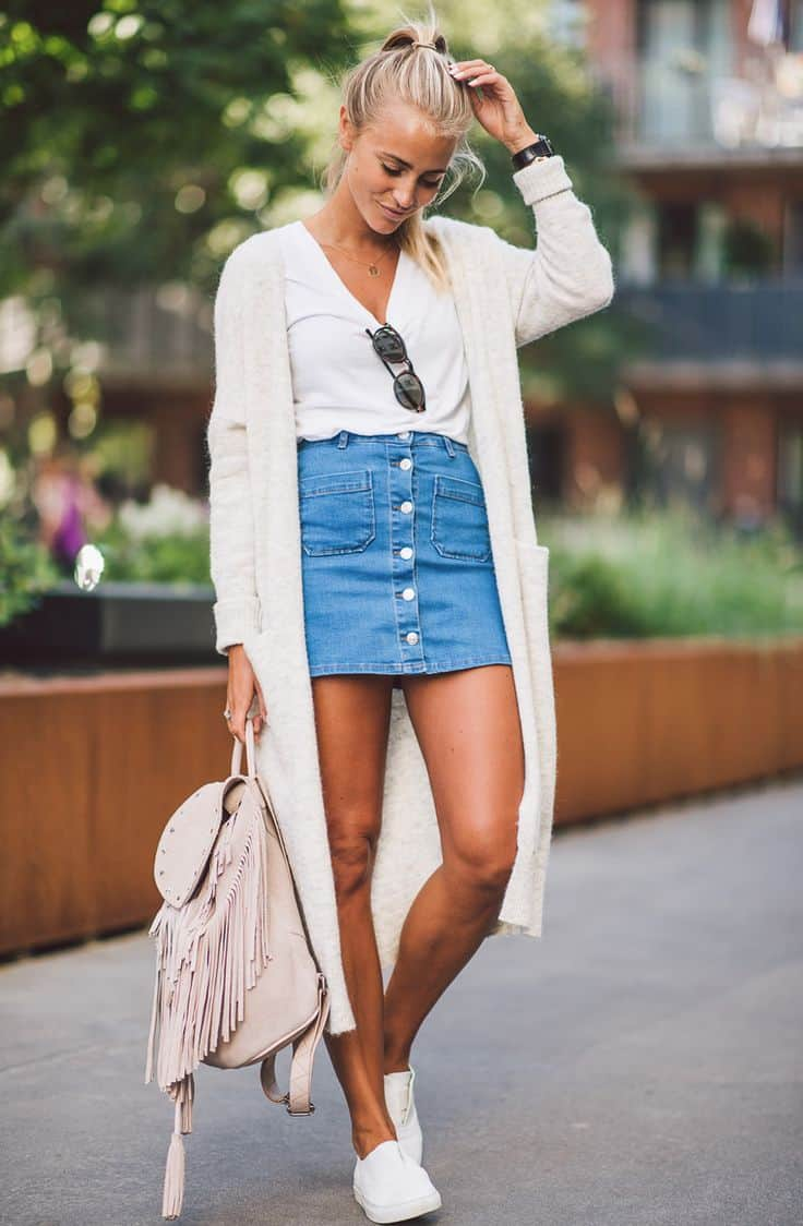 how to wear the denim skirt in 2017 like a grown up the