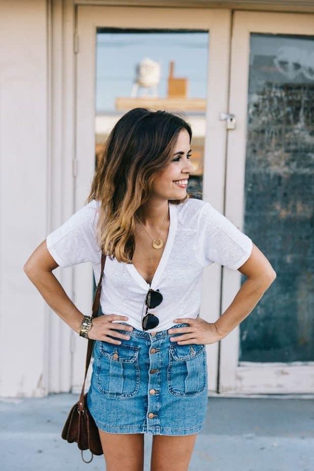 Cách mix đồ với chân váy jean ngắn cho cô nàng trẻ trung và năng động