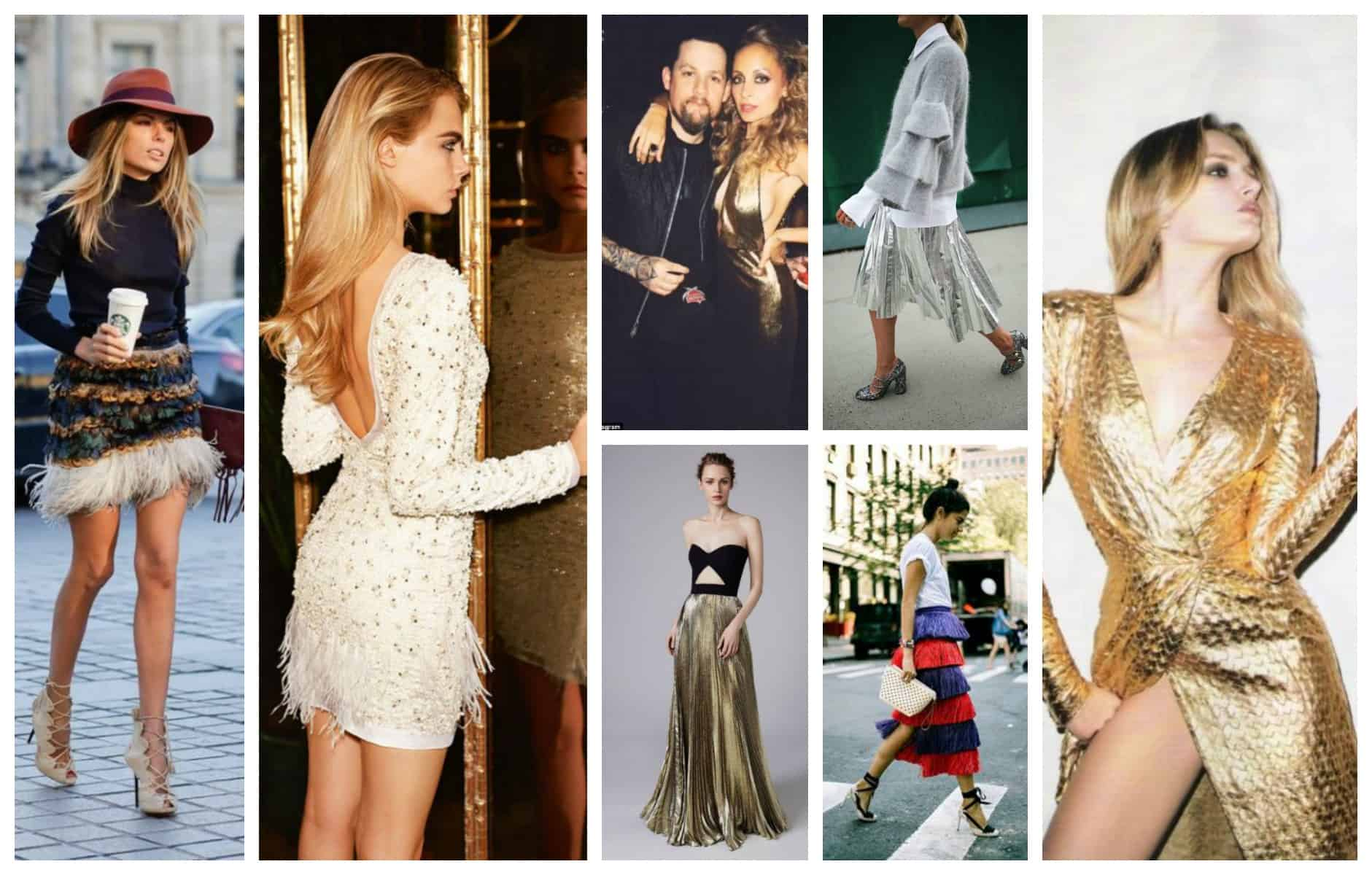 2018 winter trends metallics  feathers for holiday party